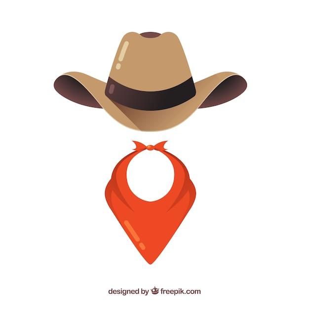 Elementi di cappello e sciarpa da cowboy Vettore Premium