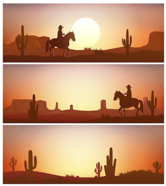 Cavallo da equitazione del cowboy contro la priorità bassa di tramonto Vettore Premium