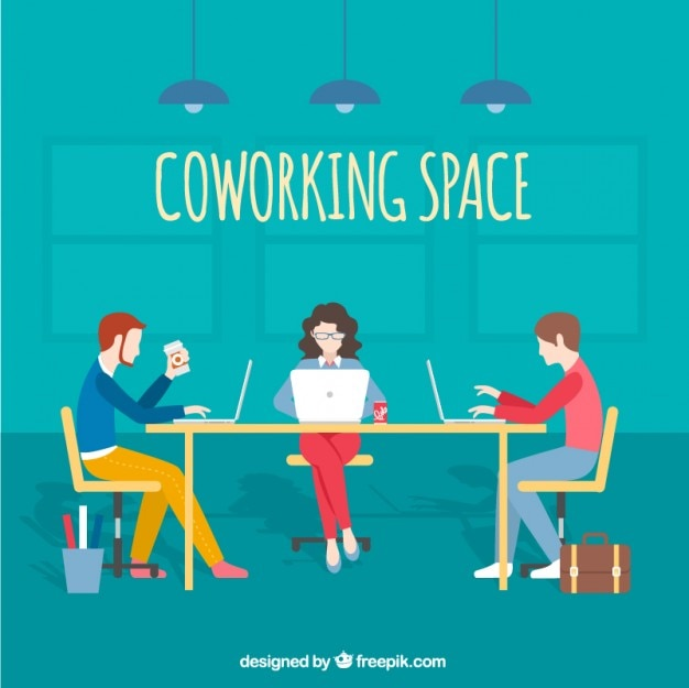 Coworking spazio illustrazione Vettore Premium