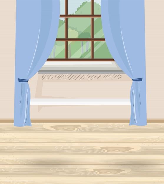 Casa accogliente con tende blu e finestra con vista sulla natura e sugli alberi Vettore Premium