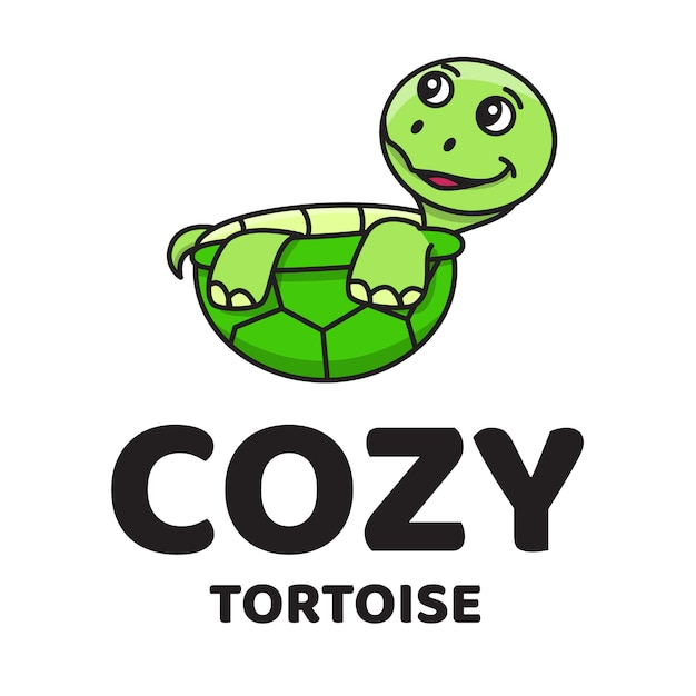 Logo carino tartaruga accogliente Vettore Premium