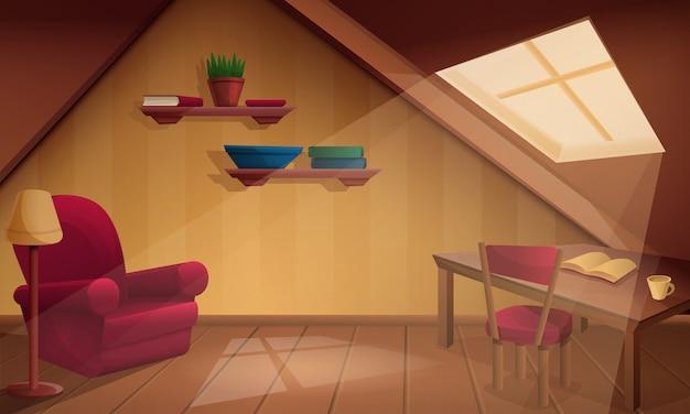 Fumetto di legno accogliente della soffitta, illustrazione Vettore Premium