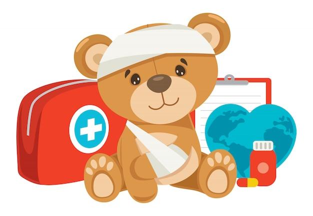 Concetto di pronto soccorso cpr per bambini Vettore Premium