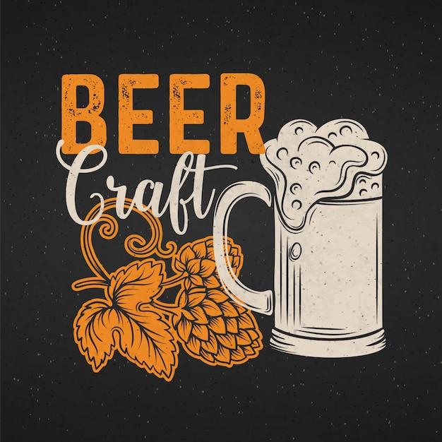 Poster di birra artigianale. progettazione di menu di alcol in stile retrò. modello di pub con boccale di birra, luppolo e scritte. Vettore Premium