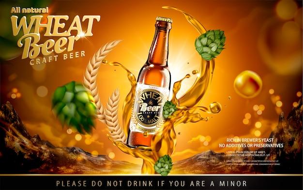 Annunci di birra di frumento artigianale con spruzzi di alcol e luppolo su sfondo marrone lucido Vettore Premium