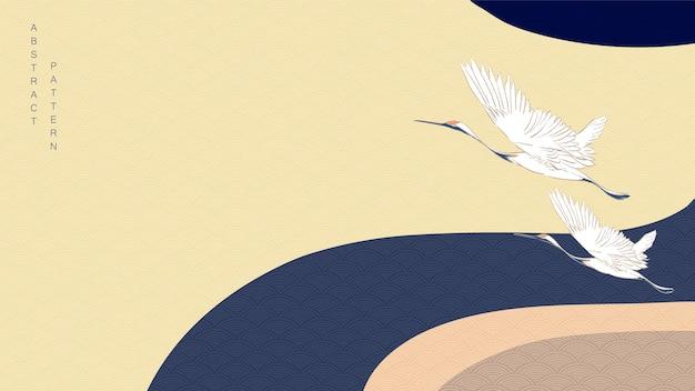 Uccelli gru con sfondo curva. motivo a onde giapponese con banner ondulato. Vettore Premium