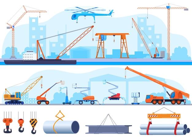 Gru, icona di costruzione industriale o icone di attrezzature di sollevamento utilizzando nel set di industria pesante. Vettore Premium