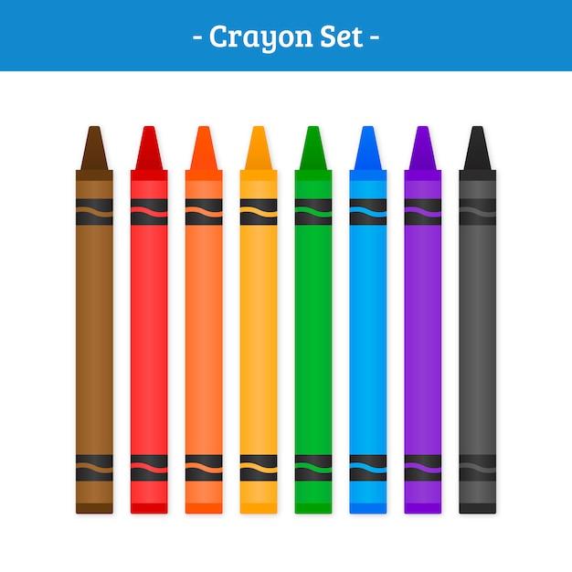 Crayon vector set Vettore Premium