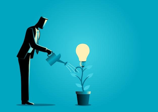 Creare idee da una pianta Vettore Premium