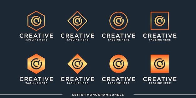 Monogramma astratto creativo iniziale Vettore Premium