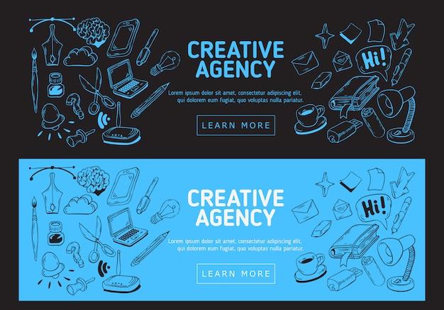 Banner web ufficio agenzia creativa. illustrazioni imprecise disegnate a mano degli oggetti relativi essenziali di ogni giorno cose e strumenti di lavoro. Vettore Premium