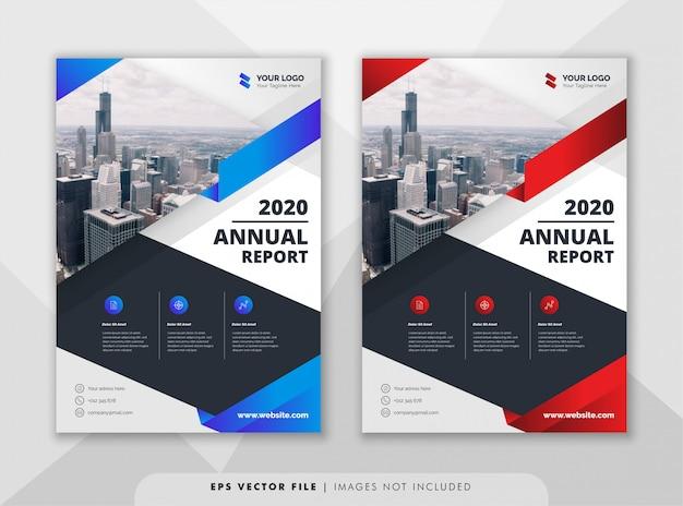 Modello di progettazione relazione annuale creativa. Vettore Premium
