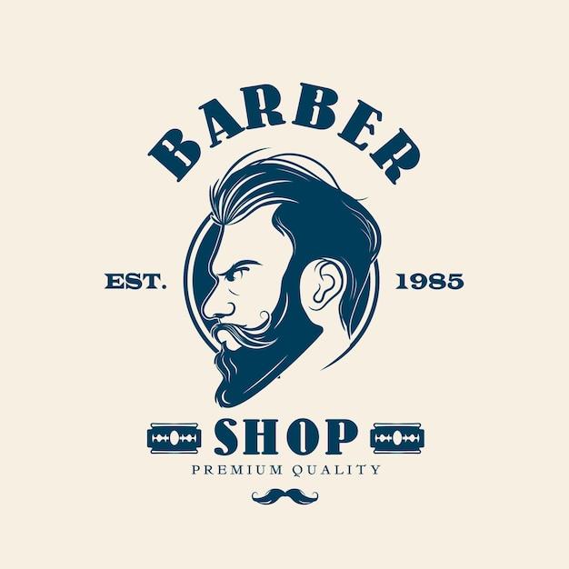Logo del negozio di barbiere creativo Vettore Premium