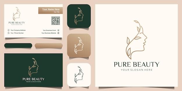 Volto di donna bella creativa pura con logo in stile arte linea foglia e design biglietto da visita Vettore Premium