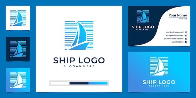Loghi creativi della barca nei toni del blu e design di biglietti da visita Vettore Premium