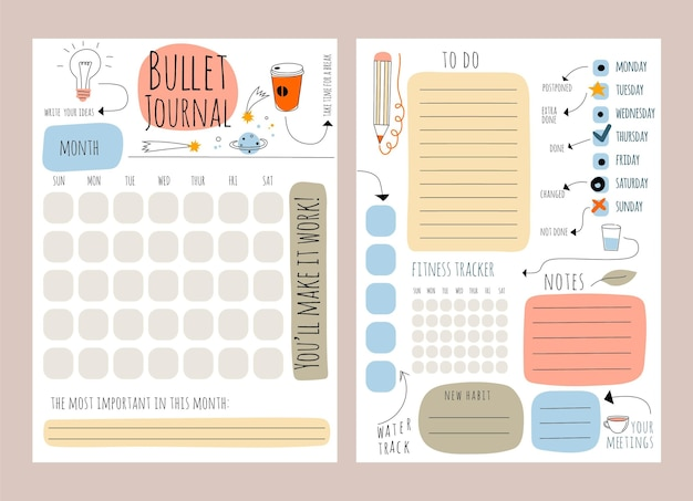 Modello di planner bullet journal creativo Vettore Premium