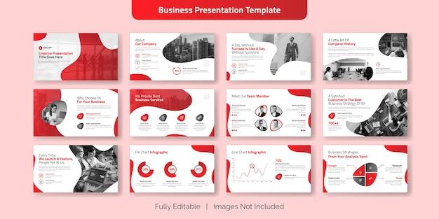 Insieme di progettazione del modello di diapositiva di presentazione aziendale creativa Vettore Premium