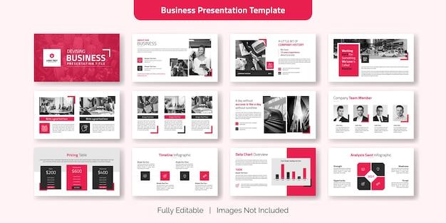 Insieme di modelli di diapositiva di presentazione aziendale creativa Vettore Premium