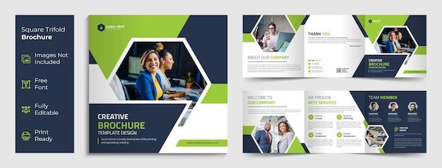 Design modello di brochure a tre ante quadrato business creativo Vettore Premium