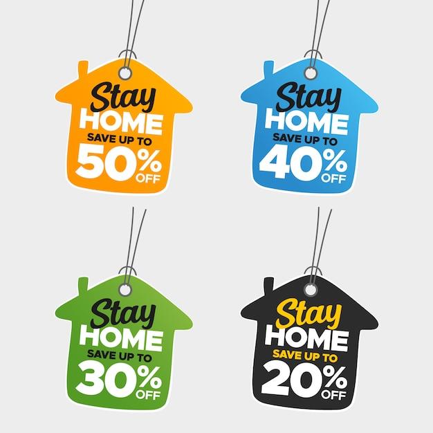 Insieme variopinto creativo di vendita e di prezzi di soggiorno a casa Vettore Premium
