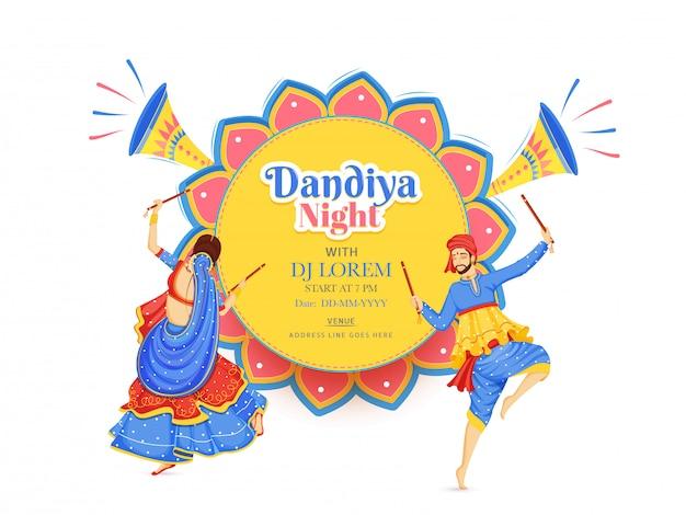 Creativo dandiya night dj party banner o poster design Vettore Premium