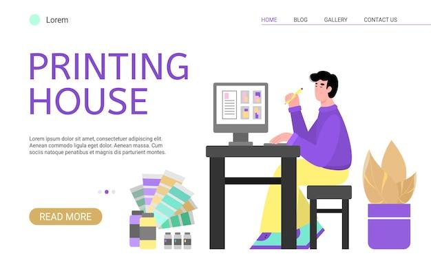 Designer creativo che lavora nella tipografia Vettore Premium