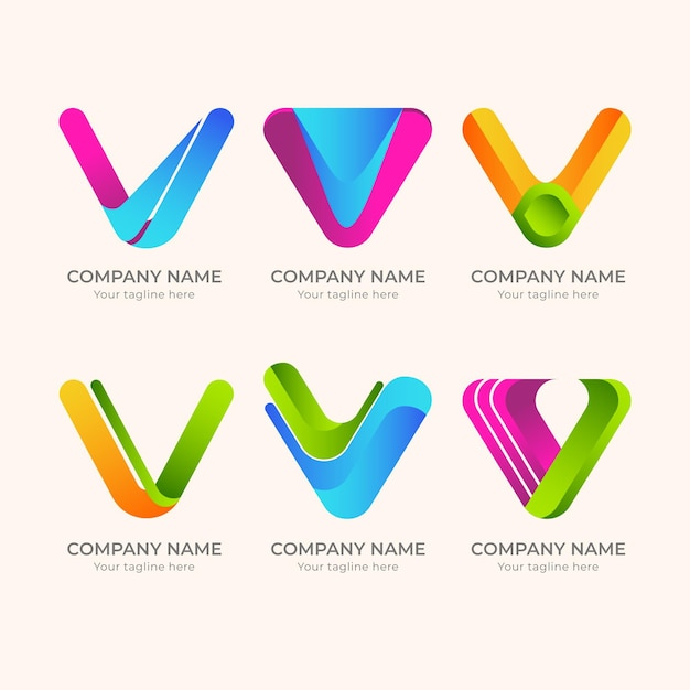 Loghi v dettagliati creativi Vettore Premium