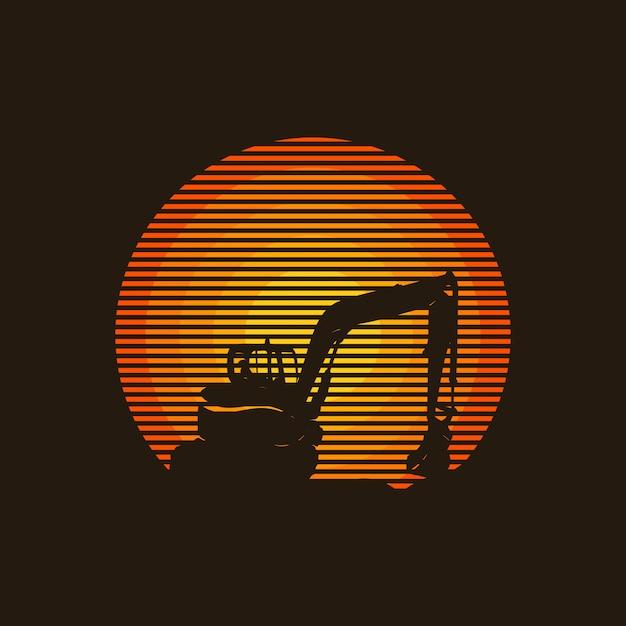 Progettazione creativa di logo di concetto dell'escavatore, illustrazione, Vettore Premium