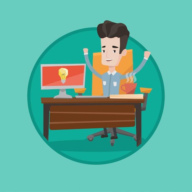 Uomo d'affari emozionante creativo che ha idea di affari. Vettore Premium