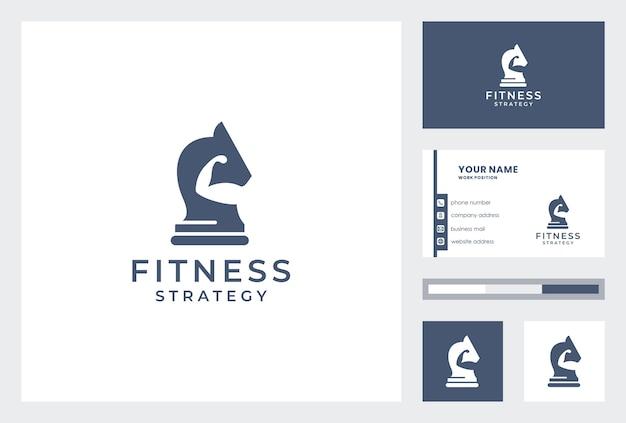 Logo di fitness creativo con modello di biglietto da visita. Vettore Premium