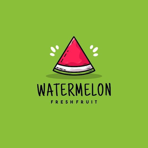 Design del logo illustrazione anguria piatto creativo Vettore Premium