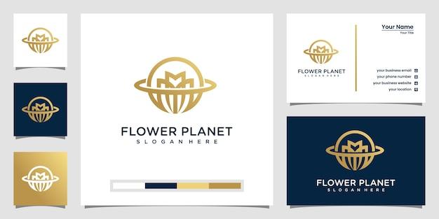 Logo e biglietto da visita del pianeta fiore creativo Vettore Premium