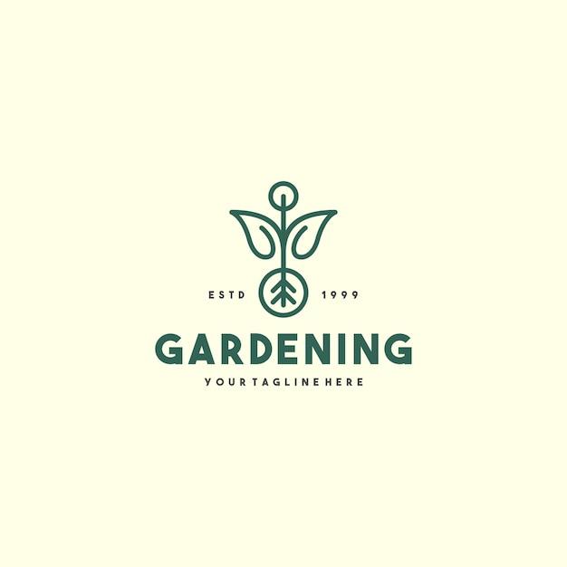 Modello di logo di giardinaggio creativo Vettore Premium