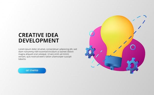 Concetto di sviluppo di idee creative con lampada a colori pop a gradiente moderno 3d e attrezzi. Vettore Premium