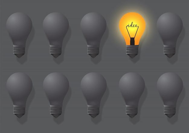 Idee creative sulla lampada. le lampade differenti e distintive sono allineate Vettore Premium