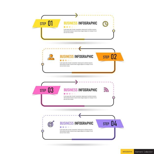 Modello di cinque passaggi di infografica creativa. Vettore Premium