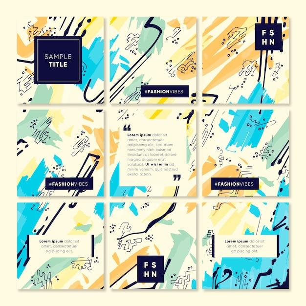 Modello di feed puzzle creativo instagram Vettore Premium