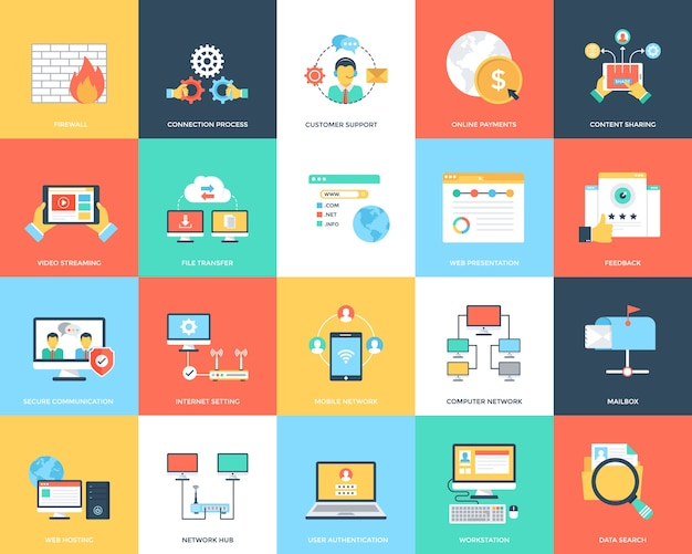 Icone creative di internet e sicurezza Vettore Premium