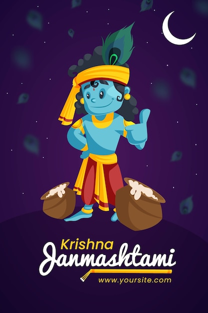 Design creativo di banner e poster krishna janmashtami Vettore Premium