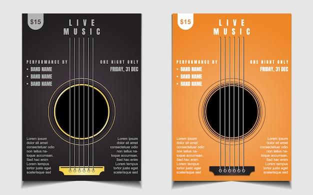 Modello di progettazione di poster o flyer di musica dal vivo creativa Vettore Premium