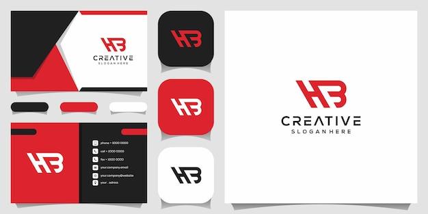 Monogramma creativo, h combinato con il modello di design del logo b. Vettore Premium