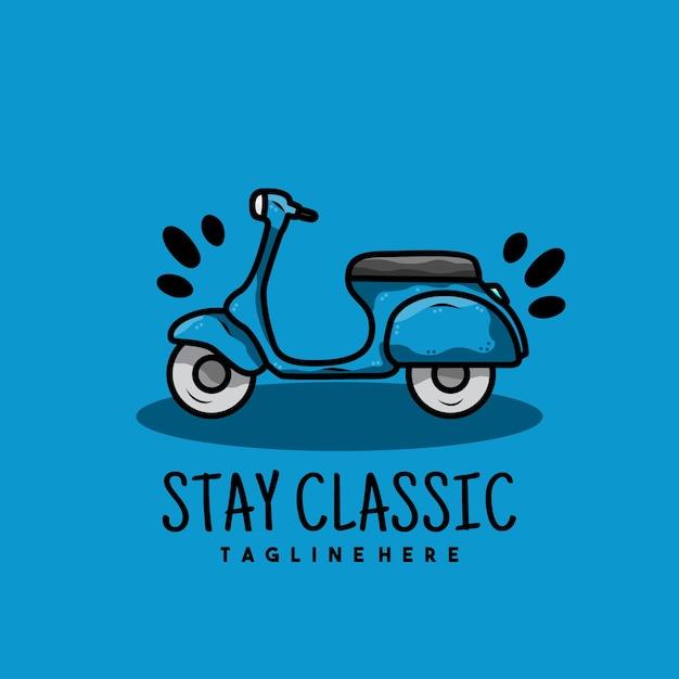 Logo di scooter moto vecchio creativo Vettore Premium