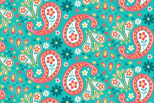 Motivo paisley creativo con elementi colorati Vettore Premium
