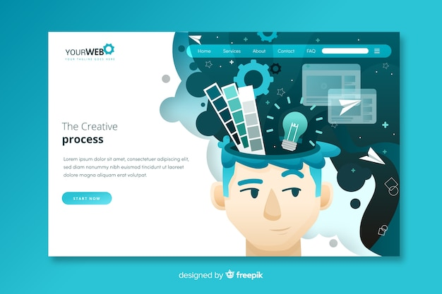Pagina di destinazione del processo creativo Vettore Premium
