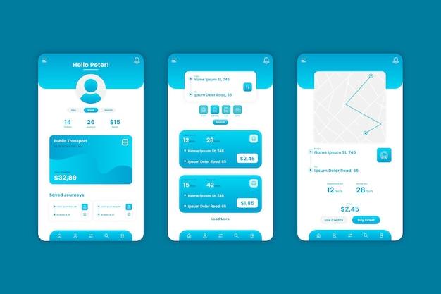 Modello di app di trasporto pubblico creativo Vettore Premium