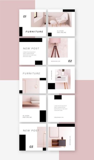 Modelli di feed puzzle creativi per instagram Vettore Premium