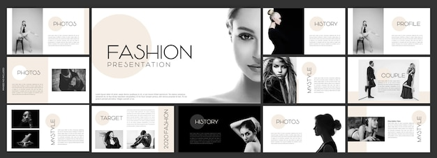 Modello di diapositive creative per la presentazione di moda Vettore Premium