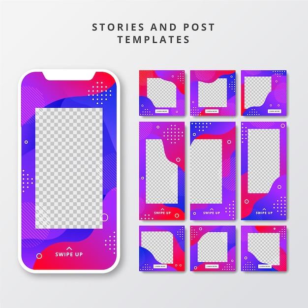 Post creativi sui social media e raccolta di storie Vettore Premium