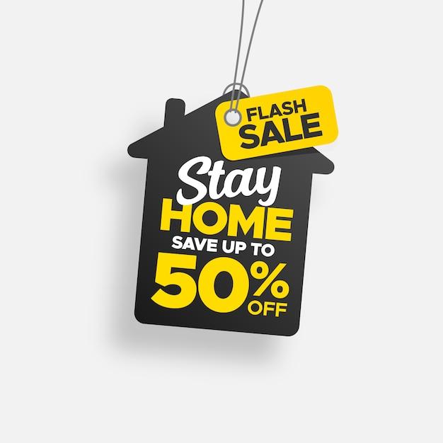 Tag di soggiorno creativo con etichetta flash in vendita Vettore Premium
