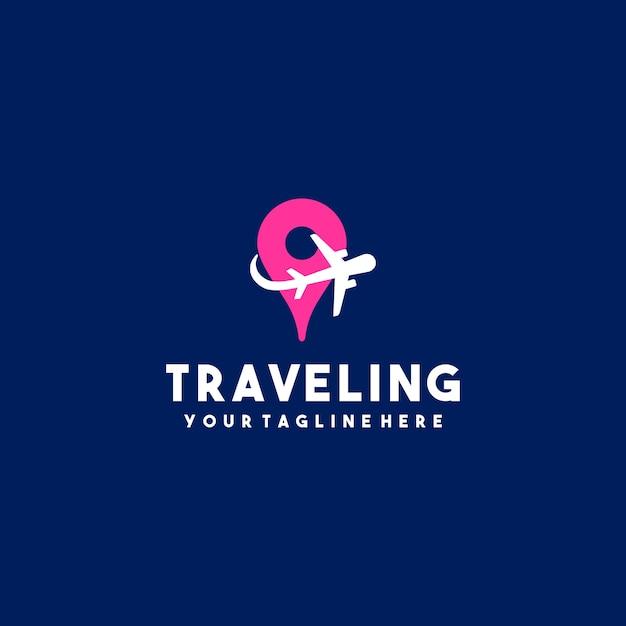 Logo creativo aereo da viaggio Vettore Premium